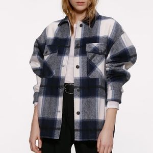 Zara Wool Blend Checkered Shirt Large
